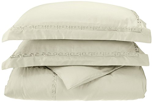 Superior 600 Thread Count Long-Staple Combed Cotton, Full/Queen Duvet Cover Set, Embroidery Greek Key Border, Sage ()