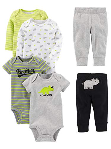 Simple Joys by Carter's Baby Boys 6-Piece Little Character Set, Green/Grey Rhino, 18 Months]()