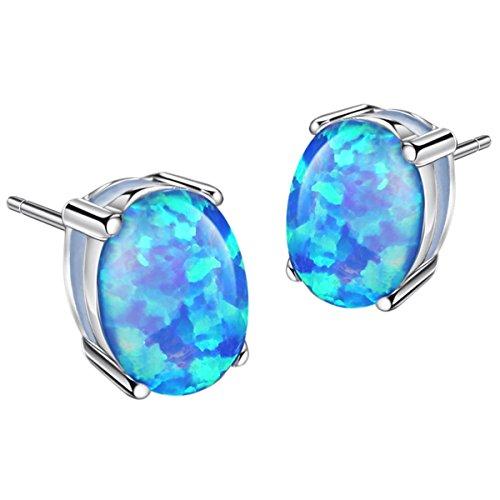 Sterling Silver Blue Opal Stud Earrings Birthstone Created Opal Gemstone Jewelry for Women 6x8mm Oval Cut (Silver Sterling Created Earring Opal)