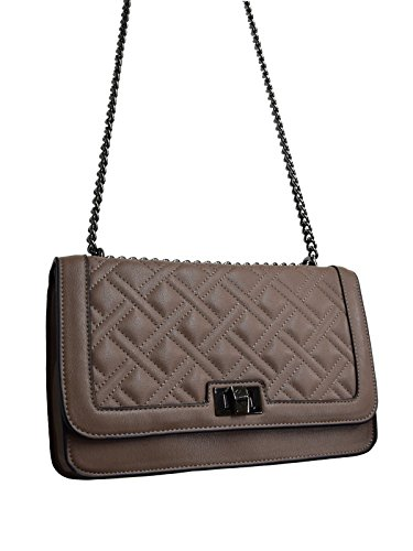 Brown Quilted Chain Girls Messenger Evening Clutch Bag Style Ladies Prom Twist Lock Handbag Taupe Leather Genuine CRAZYCHIC Bags Shoulder Women's Party Red Brick Bags Crossbody qCzS4F4