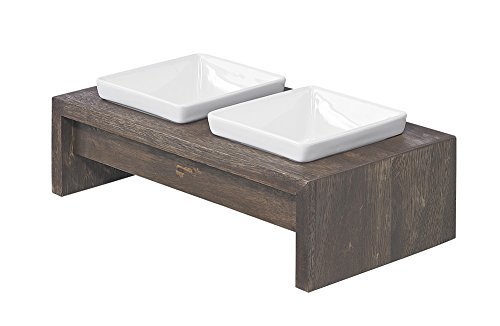Bowsers Artisan Diner Double Feeder, Small, Walnut