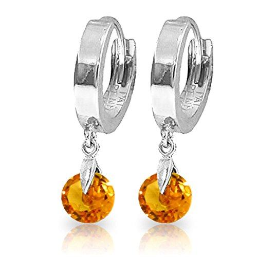 (ALARRI 1.6 Carat 14K Solid White Gold Hoop Earrings Natural)