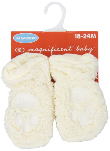 Magnificent Baby Baby Magnetic Smart Little Bear Fleece Mittens, Cream, 18-24 Months