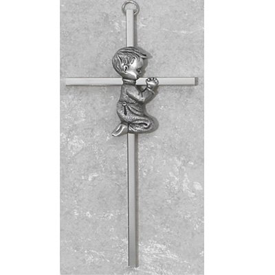 "6"" Silver Boy Wall Cross Baby Infant Christening Baptism Shower from Mcvan"