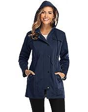 Veste de Pluie Longue pour Femme Manteau à Capuche Coupe-Vent Imperméable d'Extérieur