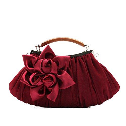 Petit À Foncé Soirée en soie Sac Diamants Mariage Fleurs Parti Paillettes Rouge Sacs Luckywe Femmes De Main AaOxqwpfn8