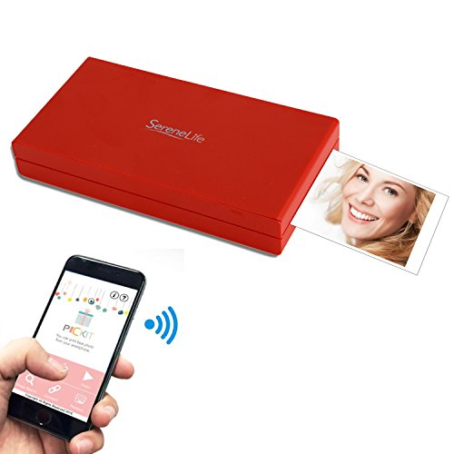 SereneLife - Portable Instant Mobile Photo Printer - Wireless Color Picture Printing from Apple iPhone, iPad or Android Smartphone Camera - Mini Compact Pocket Size Easy for Travel - (PICKIT21RD) - Mini Printer Mobile