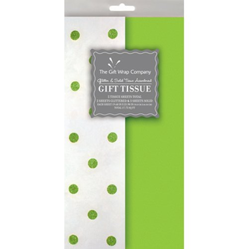 Lime Pattern Paper - The Gift Wrap Company Coordinated Glitter Dot Assortment Tissue, Lime Green