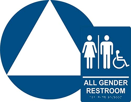 All Gender Restroom Sign Set, ADA Compliant Title 24 Set, Wall & Door Sign, Braille Grade II(Californian), Title 24,12