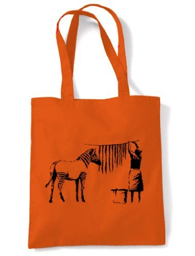 Zebra Shoulder Orange and Stripes Washing Tote Hanging Out Banksy Bag wWHfIq7a7