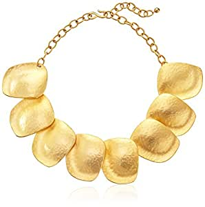 Kenneth Jay Lane Large Satin Gold-Plated Disc Necklace