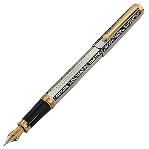 Xezo Legionnaire 18-Karat Gold, Platinum Plated MEDIUM-Point Fountain Pen, Art Nouveau Style, Diamond-Cut and Finely Hand-Etched (Legionnaire F-1) by Xezo (Image #4)