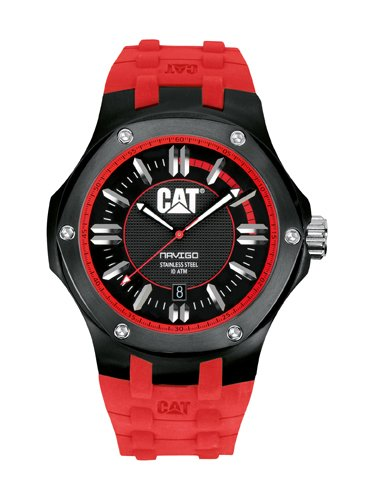 CAT WATCHES Men's A116128128 Navigo Date Black and Red Analog Dial Red Rubber Strap Watch ()