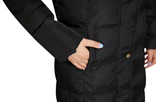 Tanming Women's Winter Cotton Padded Long Coat Outerwear With Fur Trim Hood (Large, Black) by Tanming (Image #5)