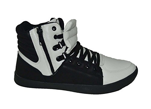 Mecca ME-7095 Larry Men's High Top Lace-Up Fashion Sneakers With Side Zipper, Black/White Size 9.5 (Shoes Comfort Larry)