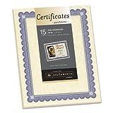 Foil-Enhanced Parchment Certificates, Ivory/Blue/Silver, 24 lb, 8.5 x 11, 15/Pk, Sold as 1 Package