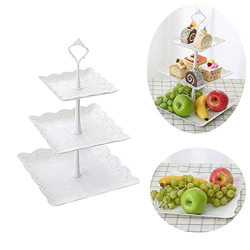 Three Tiers Cake Display Stand Fruit Plate Elegant Afternoon Tea Party Serving Platter Cupcake Dessert Stand