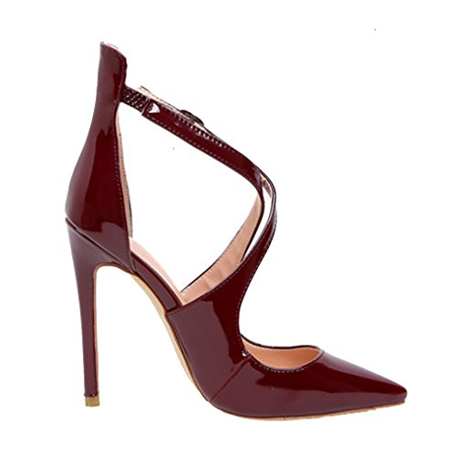High Pointed Heel Night Formal Pumps with Leather Big Dress Toe AIYOUMEI Patent Size Women's winered Club qwtAFU