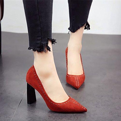 scarpe fashion party calzatura e elegante tacchi ladies' tacco sharp FLYRCX cuoio singola c autunno Primavera rivetto ruvida alti semplice SaPqT