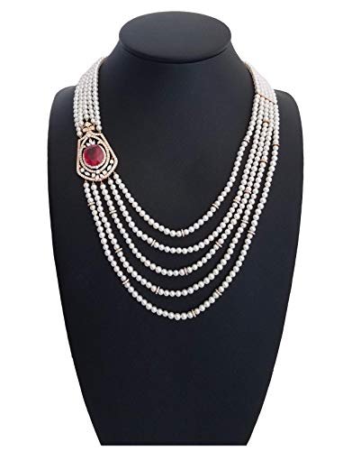 (Genuine Fresh Water White Pearl Necklace & 18k Gold Brooch Style Ruby with White Diamonds, 14k Gold Clasp)