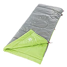 Coleman illumi-bug 45 youth sleeping bag 1 youth sleeping bag for camping in mild temperatures as low as 45°f can accommodate children up to 5 feet 5 inches tall thermotech insulation and comfortcuff help keep kids cozy