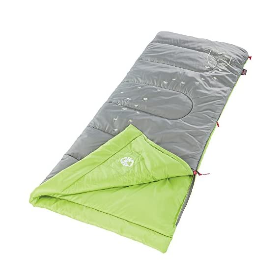 Coleman Plum Fun 45 Youth Sleeping Bag 1 Youth sleeping bag for camping in mild temperatures as low as 45°F Can accommodate children up to 5 feet 5 inches tall ThermoTech insulation and ComfortCuff help keep kids cozy
