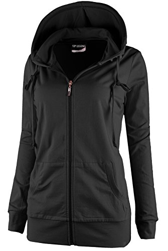 TL Women's Comfy Versatile Warm Knitted Casual Zip-Up Hoodie Jackets in Colors HD7-BLACK-L