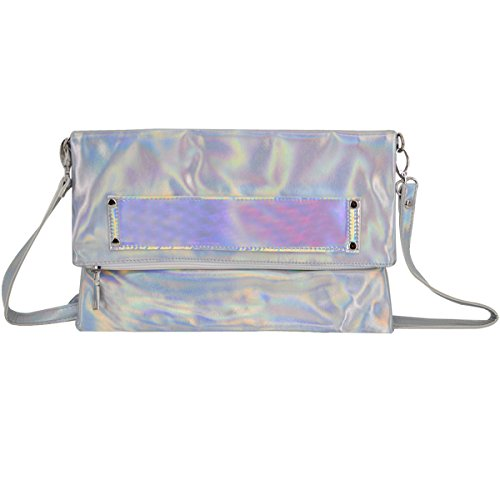 Monique Women Mini Holographic PU Leather Clutch Handbag Cross-body Bag Envelope Purse for Shopping Party Travel Silver by Monique