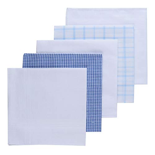 - H.FaceSSS 5 Pack Luxury Handkerchiefs, 100% Pure Cotton Pocket Square with Gift Box