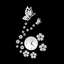 Unee1 DIY 3D Wall Clock Silent Non Ticking Decorative Living Room/Bedroom/Office/Kitchen/TV Decor with Modern Art Butterfly and Flower Stickers Decals,Battery Operated (Silver)