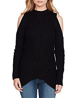 Posy Cold Shoulder Cable Sweater Top