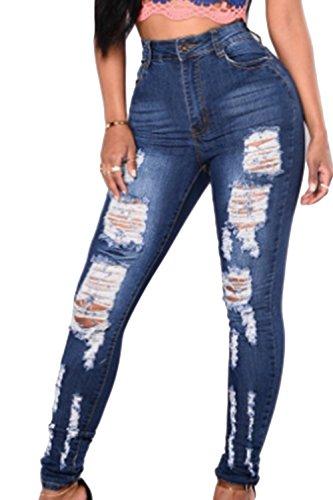 Fit Aderenti Donne Tratto Pantaloni Strappata Alta Vita Fanvans Slim Jeans Blu 7Y6wY1