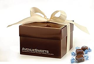 product image for AvenueSweets - Handcrafted Individually Wrapped Soft Caramels - Glossy Brown 1 lb Box - Sea Salt