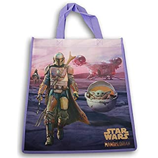 The Mandalorian with Baby Yoda Reusable Tote Bag (Purple) - 13.5 x 15 Inch