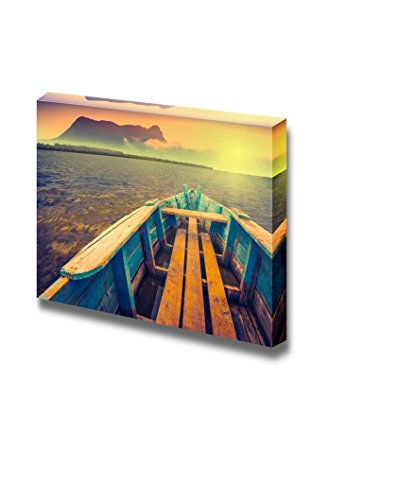 Sunrise on a Mountain Lake with Rustic Wooden Boat and Old Foggy Volcano on a Skyline Vintage Colors Wall Decor ation