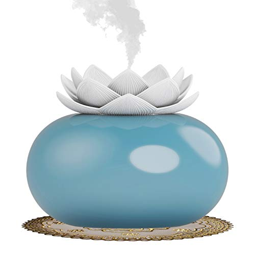 YJY Flower Essential Oil Diffuser Decorative Aromatherapy Diffuser, Cute Lotus Ceramic Humidifier Crafts Ornaments, USB Timer 12 Hours Portable for Home Bedroom Office Yoga SPA(White+Blue)