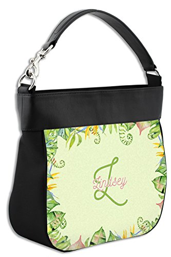 Border amp; Leather Trim Tropical w Purse Genuine Hobo Personalized Back Leaves Front Uwxxnqaf