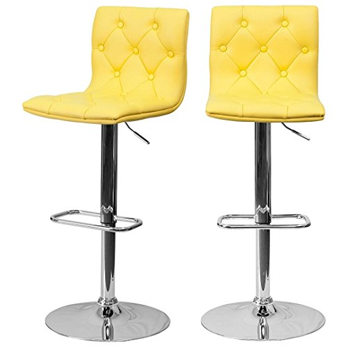 Swivel Stool Height Adjustable Express (koonlert14 Modern Bar Stools Tufted Design Hydraulic Adjustable Height 360-Degree Swivel Seat Sturdy Steel Frame Durable Chrome Base Dining Chair Bar Pub Home Office Furniture - Set of 2 Yellow #1979)