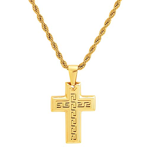 Edforce Stainless Steel Greek Key Pattern Cross Pendant Necklace with 24