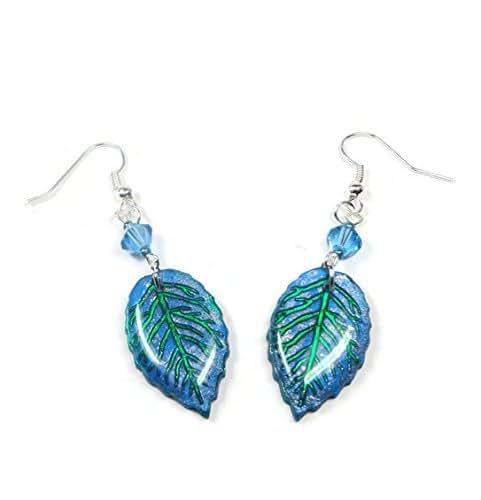 Polymer Clay Christmas Jewelry.Amazon Com Blue Green Leaf Dangle Earrings Polymer Clay