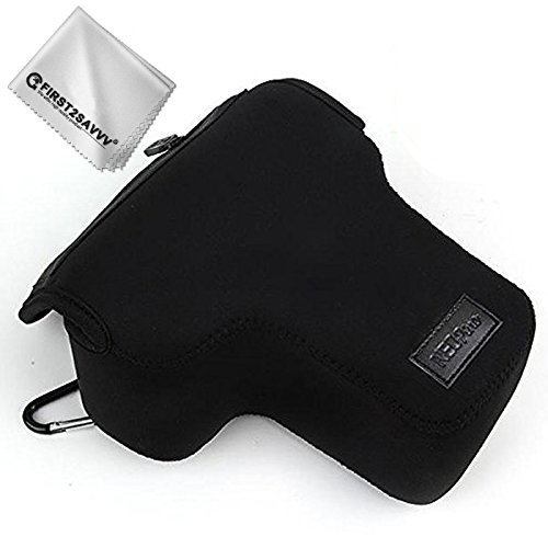 First2savvv Neoprene Camera Case Bag for Sony Alpha A9 A7R III A7R II A7R A7II A7S II A7R M3 A7R M2 with 24-70mm 28-70mm + Cleaning cloth QSL-A9-01