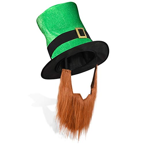 St. Patrick's Day Leprechaun Top Hat with Beard-Men's Women's Kids Irish Costume Green]()