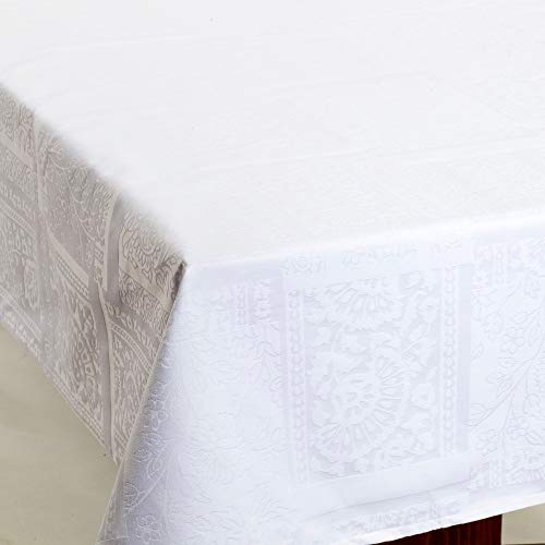 Amelie Michel French Damask Jacquard Tablecloth in Carmagnole White | Stain Resistant, Easy-Care, Machine Washable Fabric Made in France [60