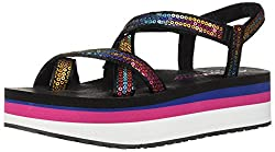Sequined Toe-Loop Platform Sandal