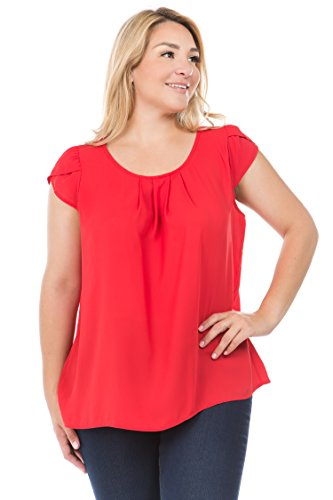 Bubble B Women's Plus Size Round Neck Pleated Top with Cap Sleeves Red 1XL