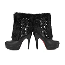 WeiPoot Women's Solid Closed Round Toe High Heels?PU Rabbit Hair Bandaged Boots with Fur Ornament