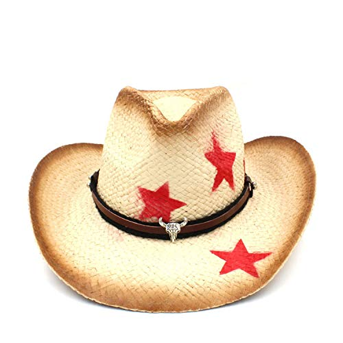 HiiWorld 100% Straw Women Western Cowboy Hat with Tassel Leather Band Star Lady Dad Sombrero Hombre Cowgirl Jazz Caps