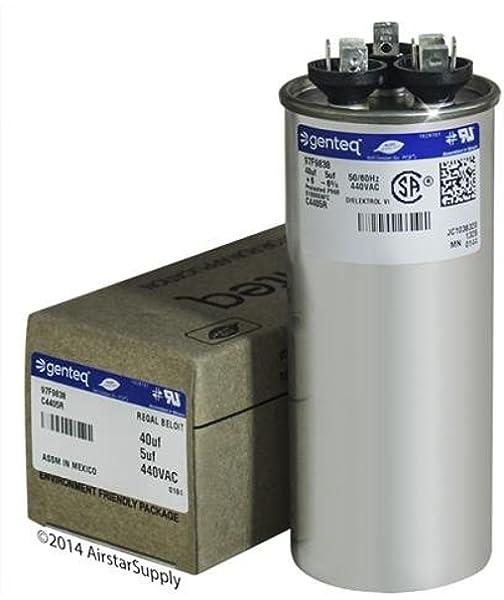//-6/% 440-370 VAC//B Dual Capacitor 50//60Hz Replaces Raypak H000080 Jard 80+10 uF