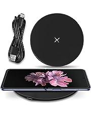 UC-Express Qi trådlös snabbladdare kompatibel för Samsung Galaxy Z Flip 3–2/vikt 3–2 trådlös laddningsstation 15 W induktiv universalladdare, färg: svart