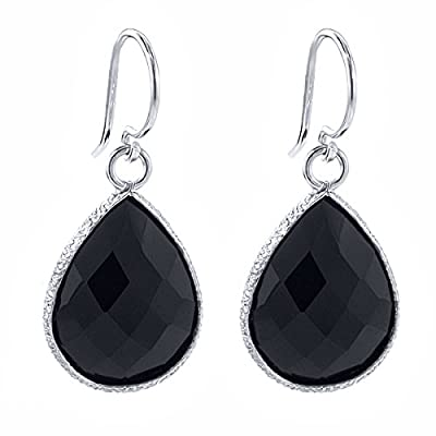 hot Black Onyx 925 Sterling Silver Gemstone Jewelry Teardrop Dangle Earrings (13.00 cttw, 16X12MM Pear Shape) hot sale